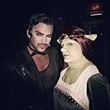 Adam Lambert and Colton Haynes as a Man in Black and Princess Fiona