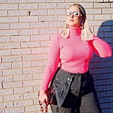Tuck a Hot Pink Turtleneck Into Cargo Pants