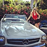 Candice Swanepoel posed for a photo with a vintage Mercedes. Source: Twitter user angelcandice
