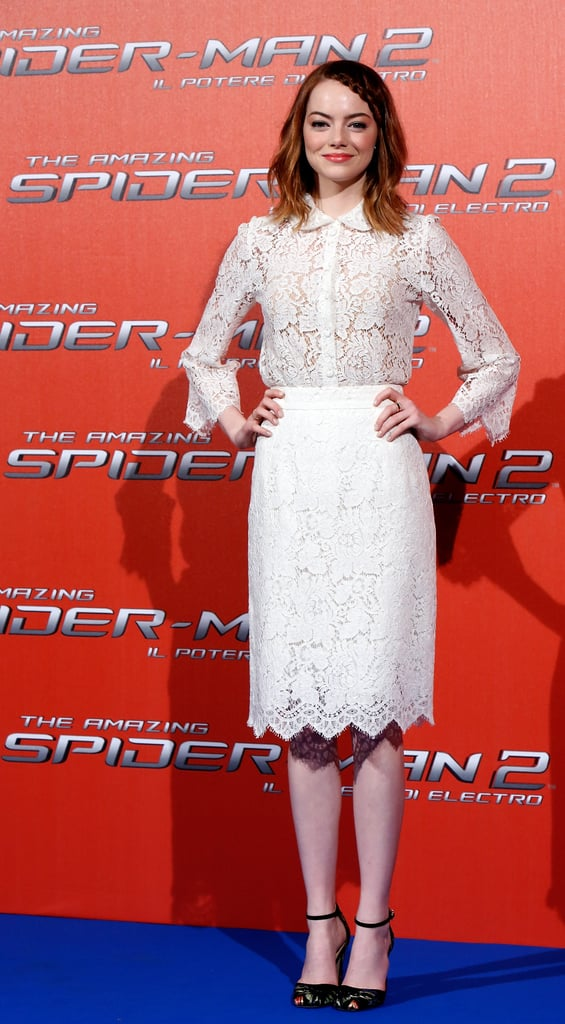Emma Stone At A Rome Press Event For The Amazing Spider Man 2 In 2014 Emma Stone S Red Carpet Style Popsugar Fashion Uk Photo 39