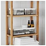 Bathroom: Ikea Brogrund Set of 3 Transparent Gray Boxes
