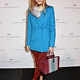 Color clashing looked so right on Olivia when she opted for a bold blue double-breasted blazer and a pair of rust-hued skinnies.
