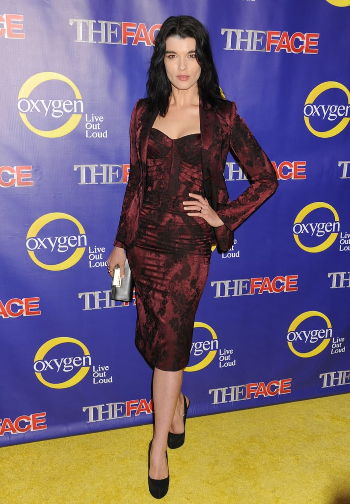 Crystal Renn walked the red carpet in a ladylike, body-hugging, printed sheath and matching jacket.