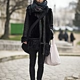 Bundled up in a gorgeous furry coat, while slim bottoms and Chelsea boots played to the cool-girl angle.  Source: Le 21ème | Adam Katz Sinding