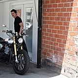 Orlando Bloom hit the open road on his motorcycle.