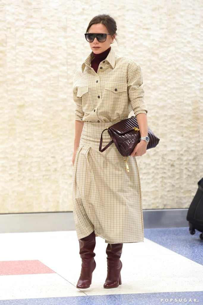 Victoria Beckham Wearing Checked Skirt and Shirt