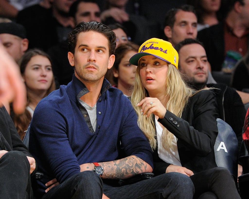 ryan sweeting and kaley cuoco attended the game just a couple days after saying