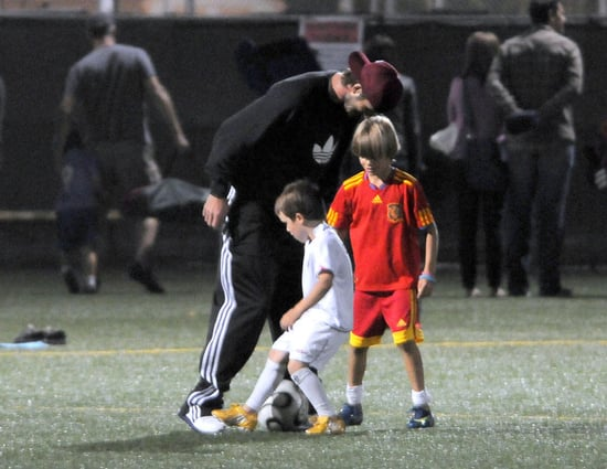 David Beckham Plays Soccer with His Sons in LA
