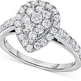 Macy's Diamond Pear Antique-Inspired Engagement Ring in 14k White Gold