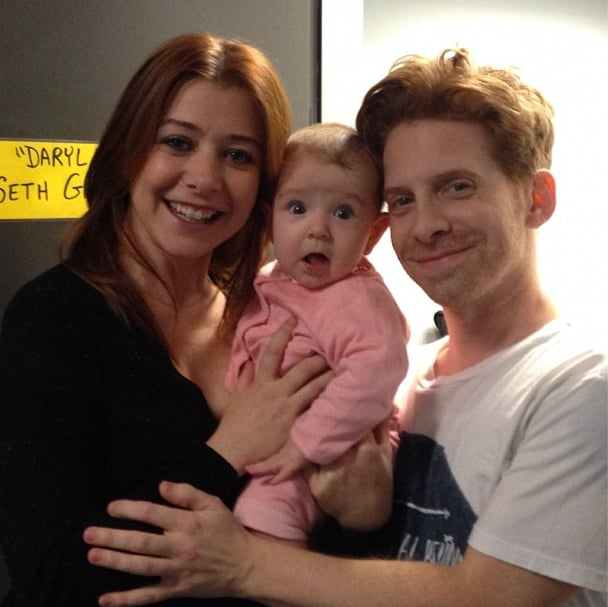 Alyson Hannigan brought baby Keeva to the set for a visit with former costar Seth Green. Source: Instagram user alydenisof