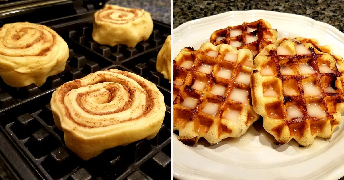 These Pillsbury's Cinnamon Roll Waffles With Cream Cheese Glaze Taste Even Better Than They Look
