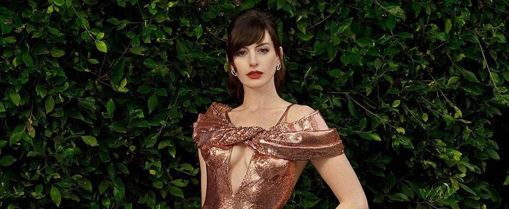 Anne Hathaway Wears 3 Metallic Dresses For Virtual Premiere