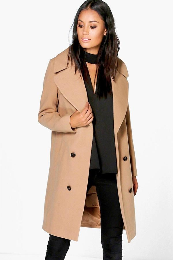 Boohoo Maya Oversized Collar Double-Breasted Coat