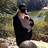 Jaime King cradled her newborn son, James Knight Newman, during a hike.  Source: Instagram user jaime_king