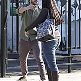 Zac Efron hugged his friend after attending a meeting in LA.