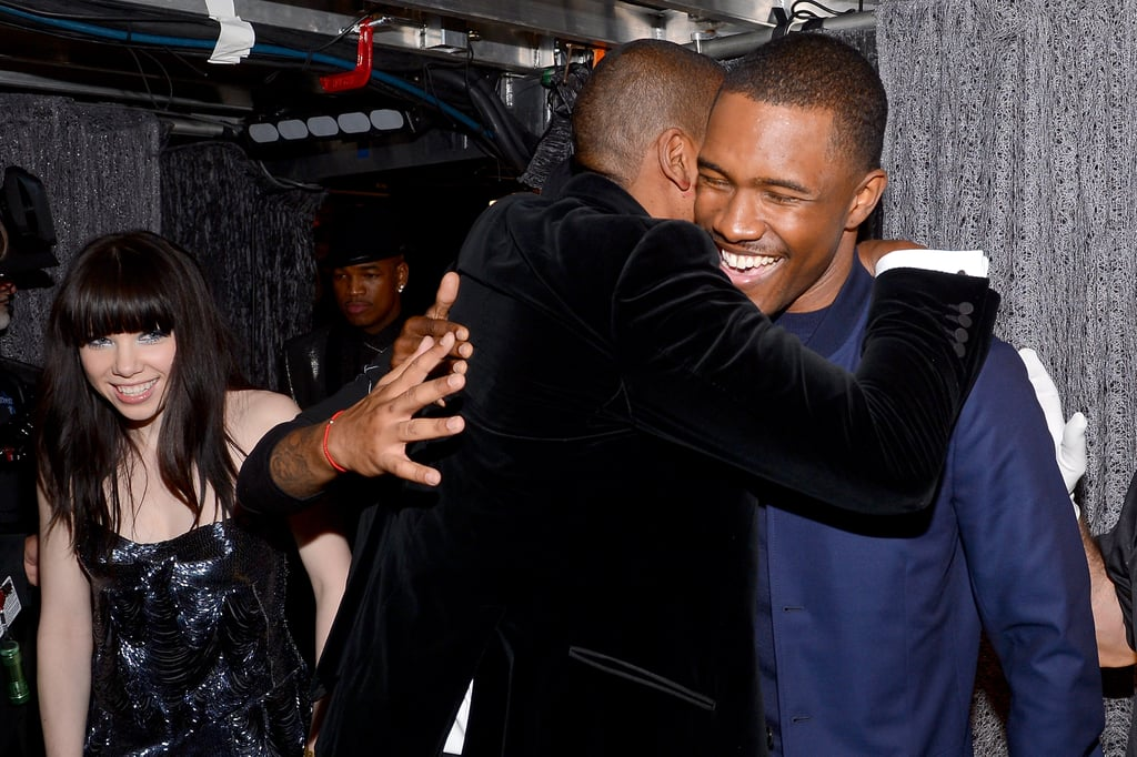 Jay-Z hugged recording artist Frank Ocean backstage at the Grammys in LA.