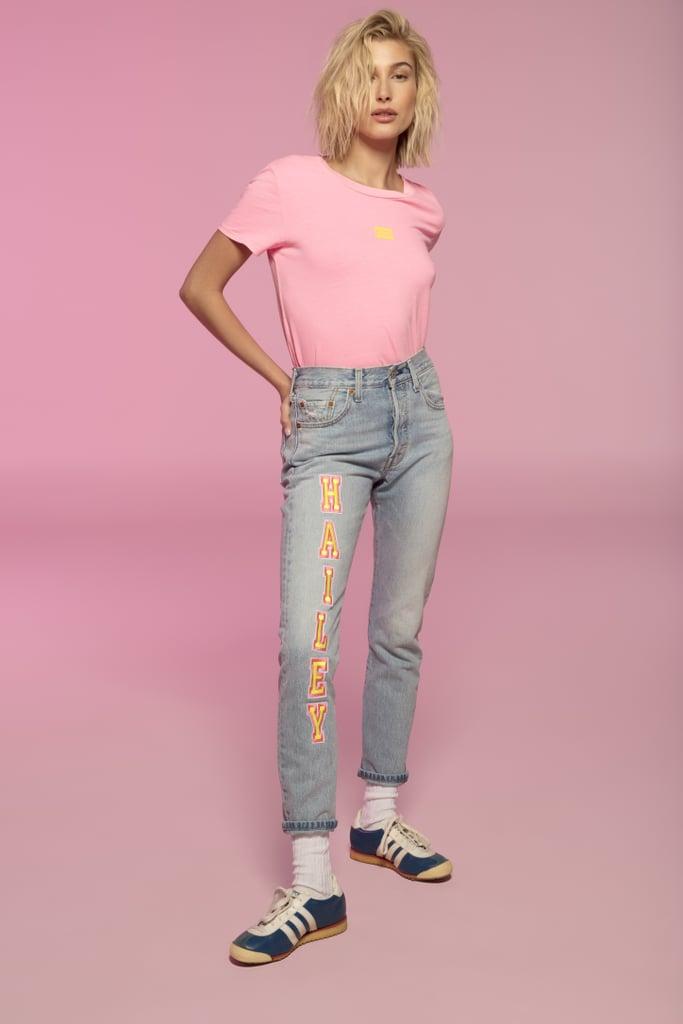 Hailey Baldwin x Levi's Graphic Cropped Tee Shirt