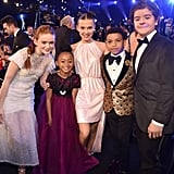 Pictured: Sadie Sink, Faithe C. Herman, Millie Bobby Brown, Miles Brown, and Gaten Matarazzo
