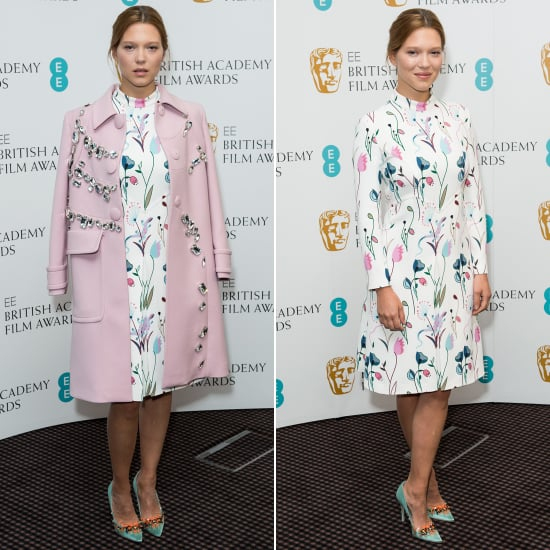 Lea Seydoux in a Miu Miu Pink Coat at a BAFTA Event