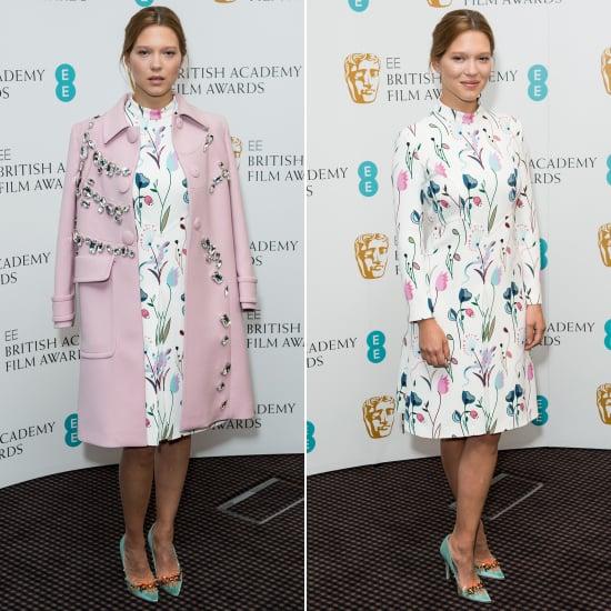 Lea Seydoux Wearing Miu Miu Pink Coat at a BAFTA Event