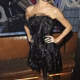 Stacy Keibler hosted a Halloween masquerade party in Las Vegas, and for the occasion, she chose a lacy black iteration to keep with the theme.