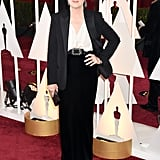 Meryl wore a skirt and blazer set with a Lavin belt to the 2015 Oscars.