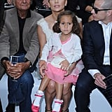 Jennifer Lopez had Emme Anthony on her lap while sitting beside Casper for the Chanel show in Paris.