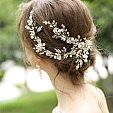 Gold Floral Headband and Earrings Set