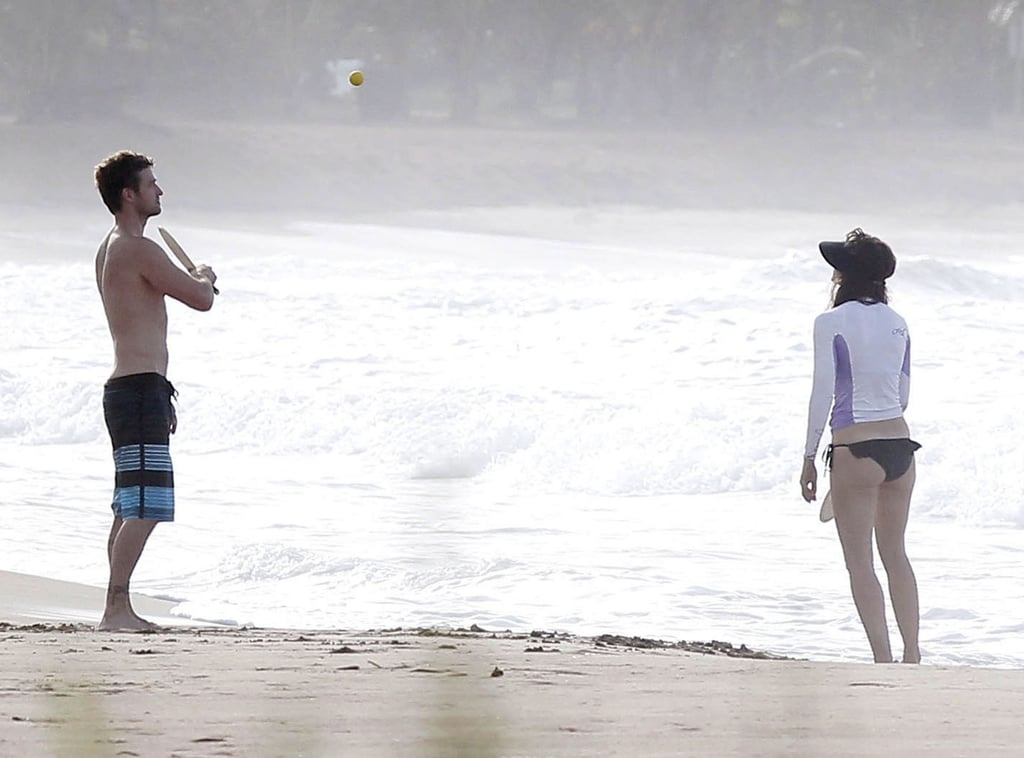 Shirtless Justin Timberlake and fiancée Jessica Biel let loose on a quiet beach in Puerto Rico on Sunday. The couple soaked up the sun and played a game of paddle ball in the sand. Justin and Jessica enjoyed their downtime on the island during a break from Justin's work on Runner, Runner with Ben Affleck.  Shirtless Ben and Jennifer Garner also hit the beach this week with daughters Violet and Seraphina and son Samuel. In addition to spending time with family, Jen can also look forward to catching up with Jessica, who she formerly shared the screen with in Valentine's Day. Jessica may have to part with JT and friends in upcoming days as she preps for the Aug. 3 release of her action reboot, Total Recall.
