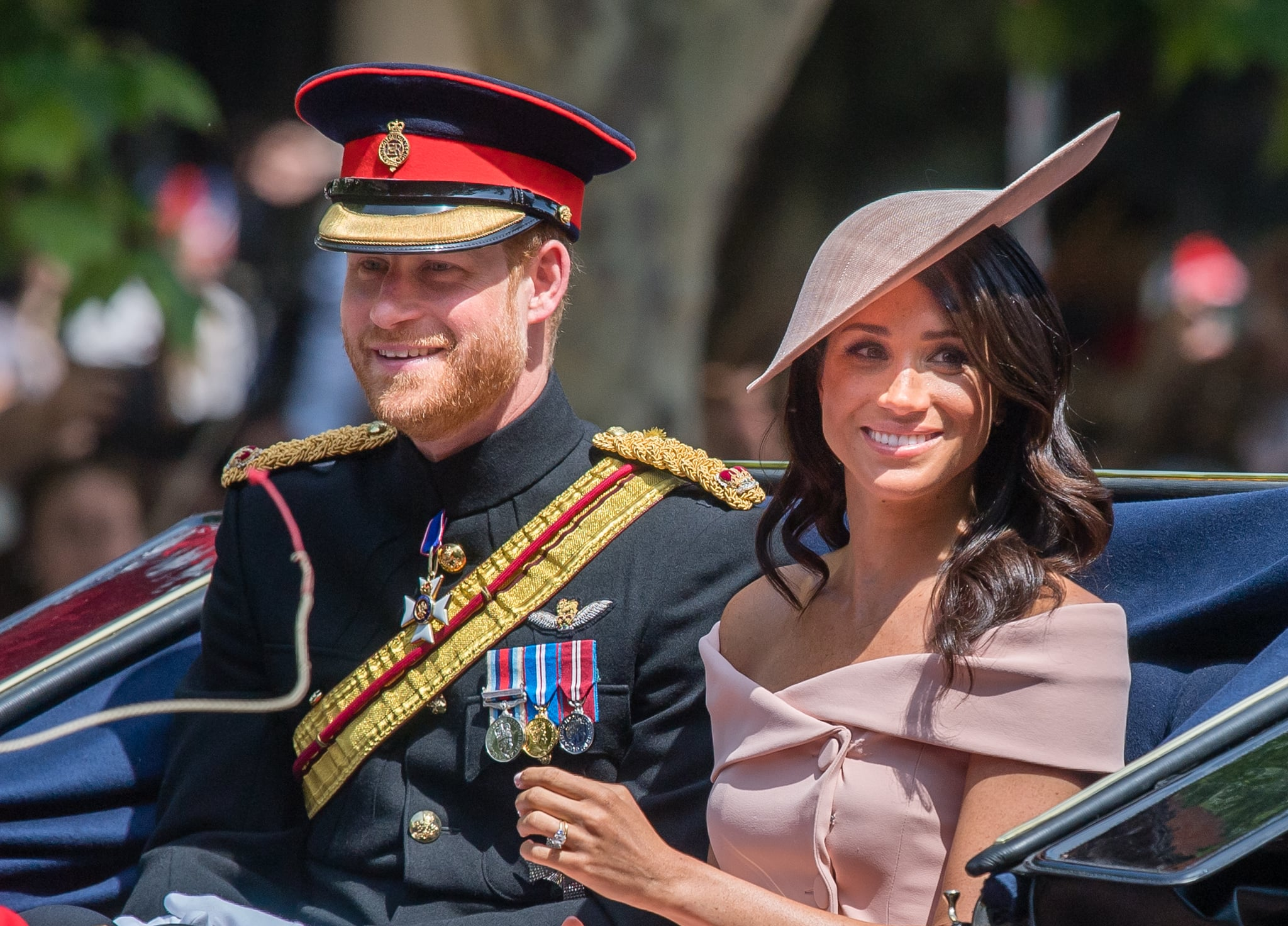 LONDON, ENGLAND - JUNE 09:  Prince Harry, Duke of Sussex and Meghan, Duchess of Sussex ride by carriage during Trooping The Colour 2018 on the Mall on June 9, 2018 in London, England.  (Photo by Samir Hussein/Samir Hussein/WireImage)