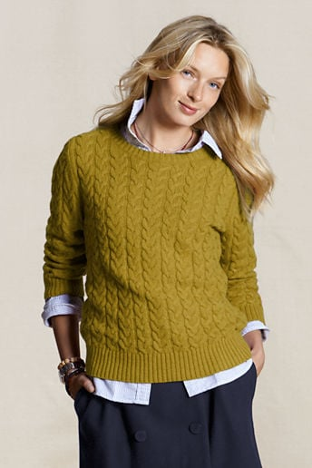 We love the chartreuse shade of this Lands' End Cable Knit Crewneck Sweater ($28), and it would look especially adorable styled over a collared blouse.