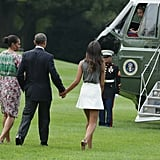 When Barack held hands with his ladies.