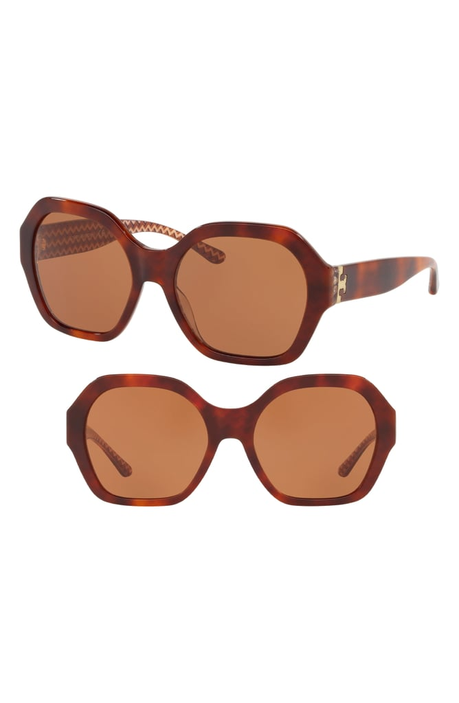 Tory Burch Serif T Pattern 57mm Hexagon Sunglasses