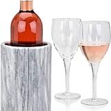 Wine Chiller Elegant Grey Marble Wine Bottle Cooler