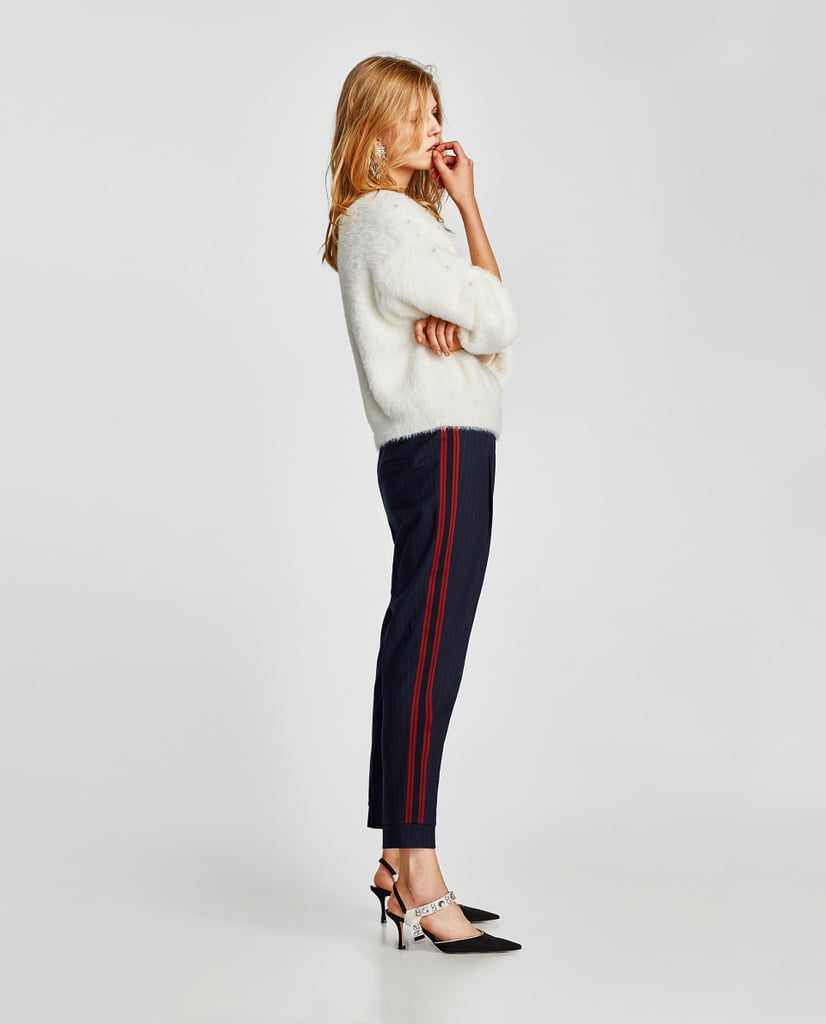 Zara Trousers With Contrasting Stripes