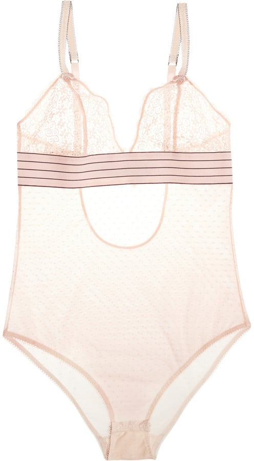 Stella McCartney Millie Drawing Lace and Swiss-Dot Tulle Bodysuit ($42)