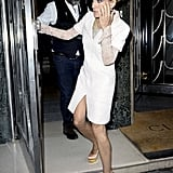 Sarah Jessica Parker wears white to dinner in London.