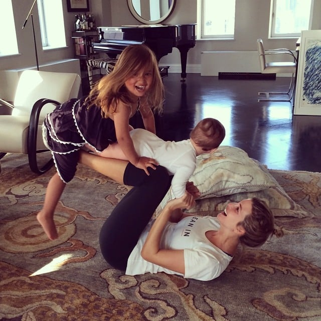 Ivanka Trump had a little help with her morning exercises. Arabella and Joseph provided a little extra weight for the leg lifts. Source: Instagram user ivankatrump