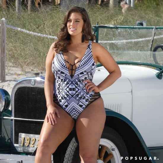 Ashley Graham's Black-and-White One-Piece Swimsuit
