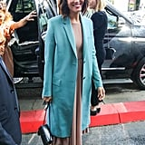 When Mandy attended her Walk of Fame ceremony in 2019, she covered up her nude Emilia Wickstead midi dress with a gorgeous teal coat.