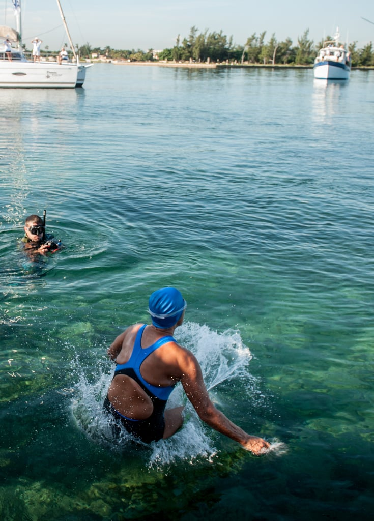 Diana Nyad jumped into the water on the Havana shores to start her swim on Aug. 31.