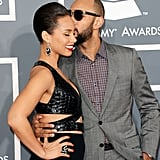 Swizz Beatz gave Alicia Keys a kiss on the red carpet.