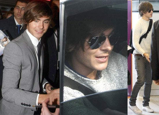 Photos Of Zac Efron In Paris and at the Airport Ready To Come To London For 17 Again