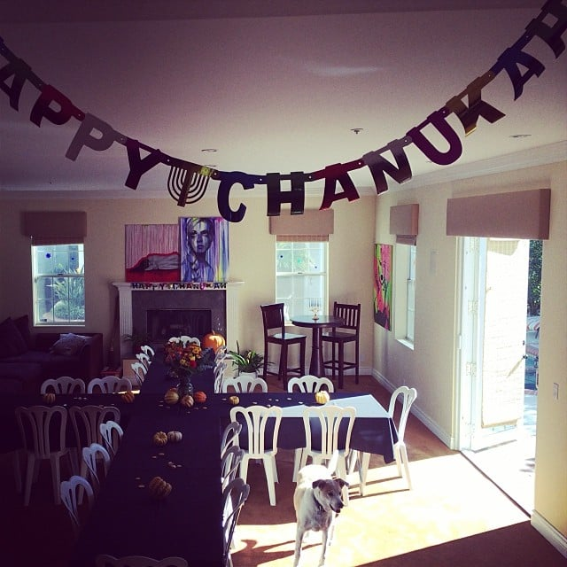 Lance Bass decorated his living room for Thanksgivukkah. Source: Instagram user lancebass