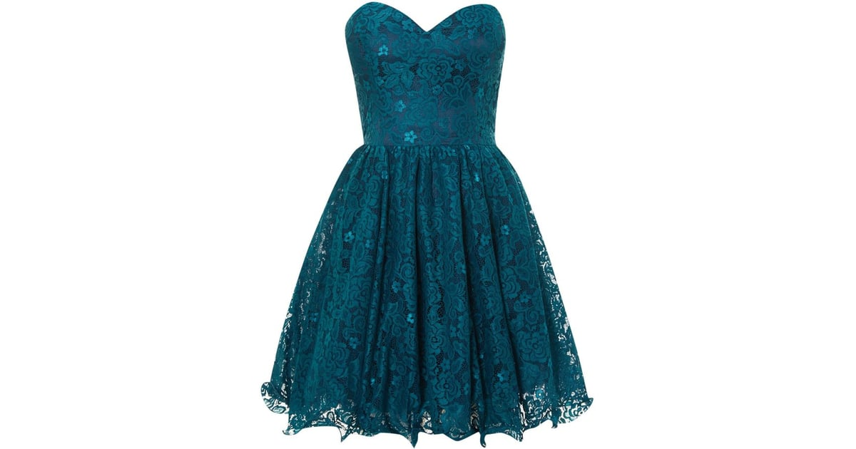 Chi Chi London Teal Lace Sweetheart Strapless Dress (£30
