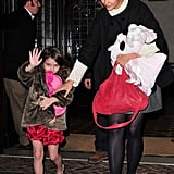 Katie Holmes and Suri Cruise left their NYC hotel.