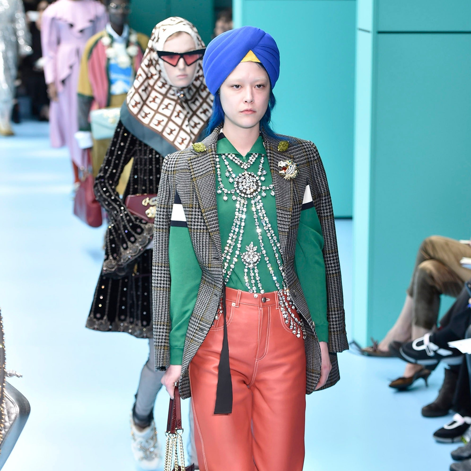 4c3c607ea95 Gucci Models Wearing Turbans Fall 2018