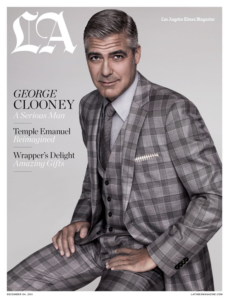 """George Clooney modeled a three-piece suit and talked candidly with LA Times Magazine's contributing editor John Horn for the publication's December issue. The actor opened up about humanitarian issues close to his heart as well as his future Hollywood plans. George covers his face in a portrait featured inside the edition, but it's his star power that's helping raise awareness about ongoing human-rights violations in the Sudan. The fun-loving actor, who was recently off in Cabo partying with his girlfriend Stacy Keibler and pal Alex Rodriguez, kept the conversation somber and serious as he described the genocide taking place. Here's more from George's interview with LA Times Magazine:   George on using his power to make a difference: : """"I'm here to represent the voices of people who cannot speak for themselves. . . My job is to come here today and beg you on behalf of the millions of people who will die. . . This genocide will be on your watch. How you deal with it will be your legacy—your Rwanda, your Cambodia, your Auschwitz."""" George on political aspirations: """"I'm not getting in politics. . . I have no interest — because of the compromises you have to make."""" George on his career plans: """"I'm less and less interested in seeing myself onscreen, honestly, I feel like I've done a lot of stuff [as an actor]. I really haven't done that as a director. Directing is infinitely more creative, and writing is more fun."""""""