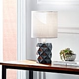 Rivet Geo Modern Black Ceramic Living Room Table Desk Lamp