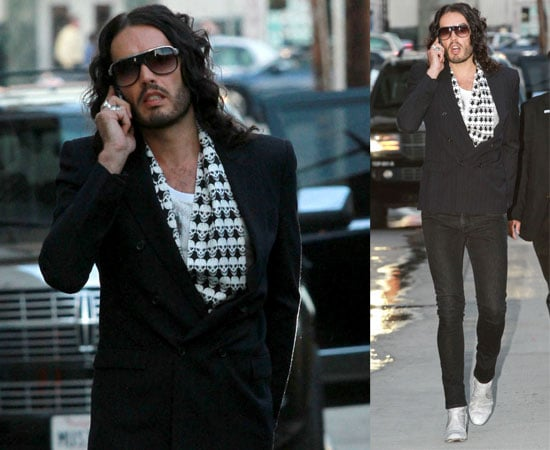 Pictures of Russell Brand at El Capitan Theatre in LA for Jimmy Kimmel Live